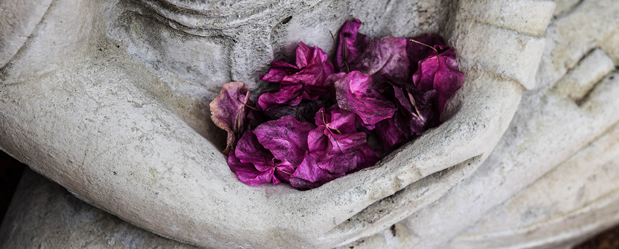 flower petals in buddha statue's hands
